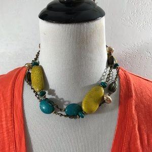 Chunky Stone Chain Long Necklace Boho Style